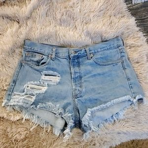 Light wash high waisted Runway Dreamz jean shorts